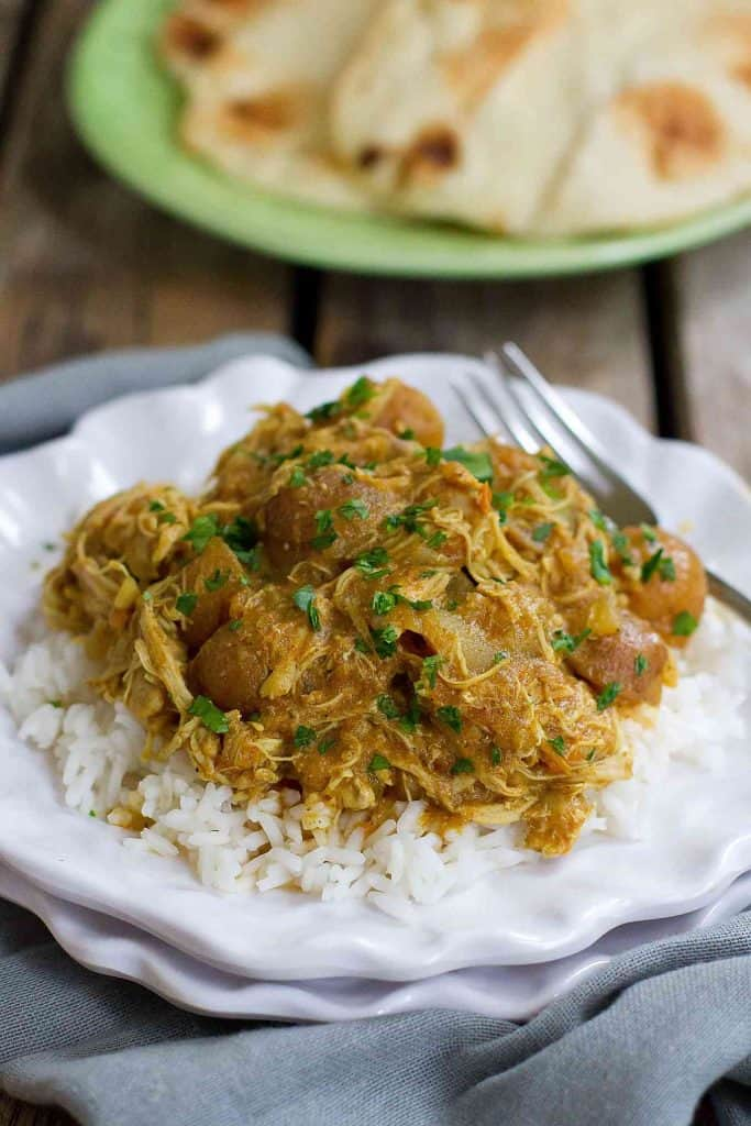 This flavorful and healthy Instant Pot Chicken Curry with Potatoes can be cooked in minutes in the pressure cooker or simmered for longer on the stovetop. 350 calories and 9 Weight Watchers SmartPoints