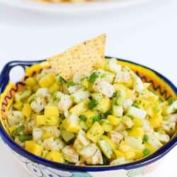 Serve up this awesome Shrimp, Jicama and Mango Salsa with chips, or on top of lettuce as a light lunch! 62 calories and 1 Weight Watchers SmartPoint