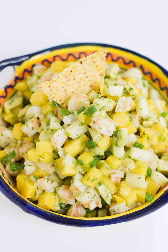 Serve up this awesome Shrimp, Jicama and Mango Salsa with chips, or on top of lettuce as a light lunch! 62 calories and 1 Weight Watchers Freestyle SP