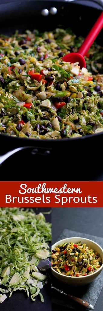 Southwestern Brussels Sprouts with Black Beans and Corn…Spruce up sautéed Brussels sprouts by adding a southwestern twist! 144 calories and 3 Weight Watchers SmartPoints