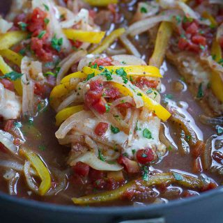 Balsamic Baked Cod Recipe with Peppers