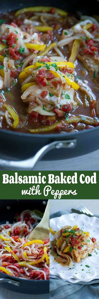 Balsamic Baked Cod Recipe with Peppers…Gone are the days of flavorless fish dinners! This healthy recipe comes together with almost no effort. 206 calories and 2 Weight Watchers SmartPoints