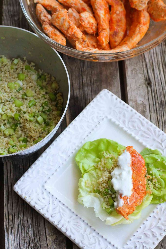 Buffalo Chicken Lettuce Wraps with Quinoa…Lighten up Buffalo chicken by sautéing chicken tenders and serving them in lettuce wraps with a crunchy quinoa vegetable mix. Perfectly spicy, healthy and delicious! 249 calories and 5 Weight Watchers SmartPoints