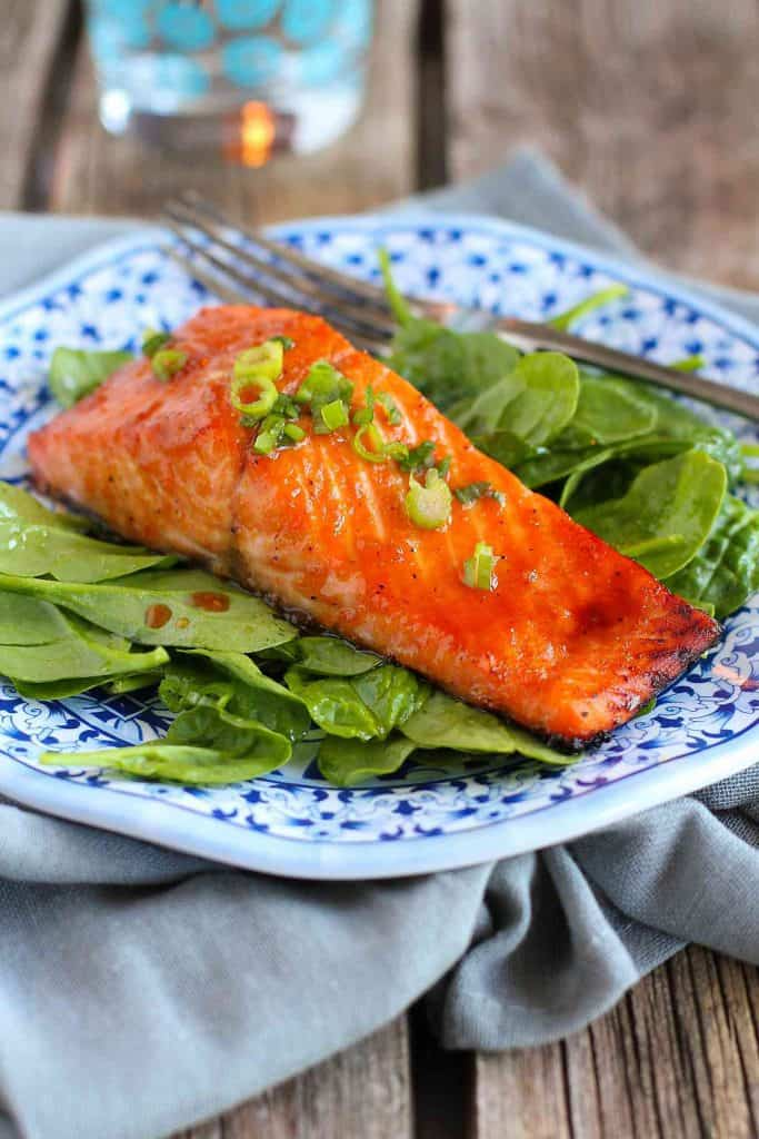 Soy Honey Glazed Salmon…Ready in 10 minutes or less, this delicious salmon is perfect for a weekday meal! 192 calories and 4 Weight Watchers SmartPoints