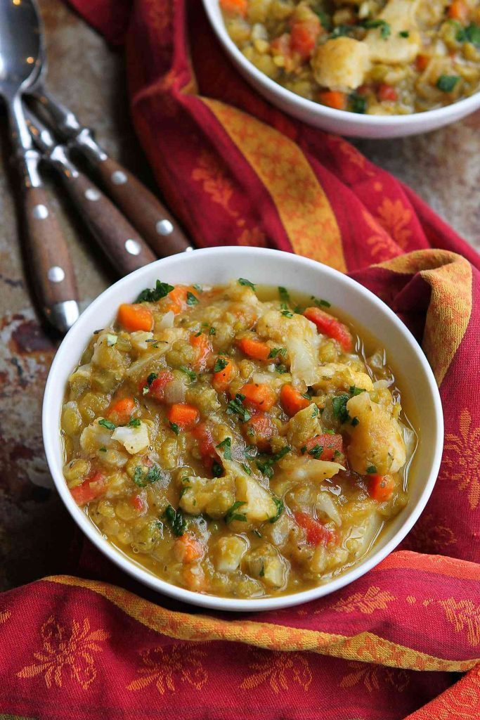 Italian Split Pea Stew with Cauliflower…This hearty, healthy vegan stew is packed with vegetables, and is a great source of protein and fiber. 258 calories and 5 Weight Watchers SmartPoints