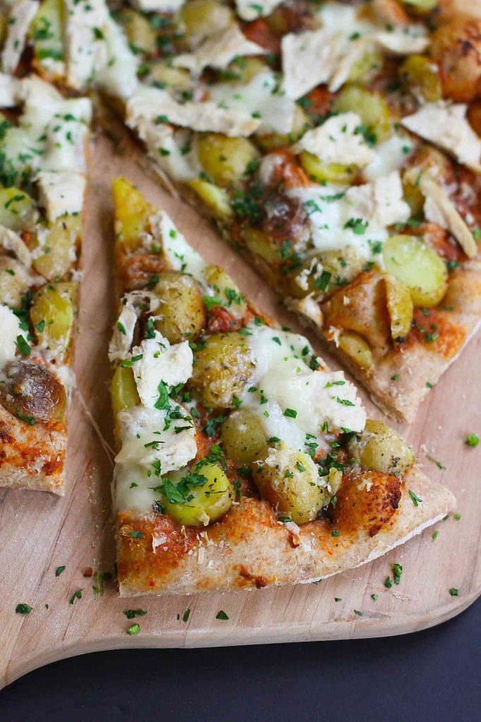 Leftover Turkey (or Chicken) and Potato Pizza…Use up your leftover Thanksgiving turkey or chicken breasts in this flavorful whole wheat pizza! 269 calories and 8 Weight Watchers SmartPoints
