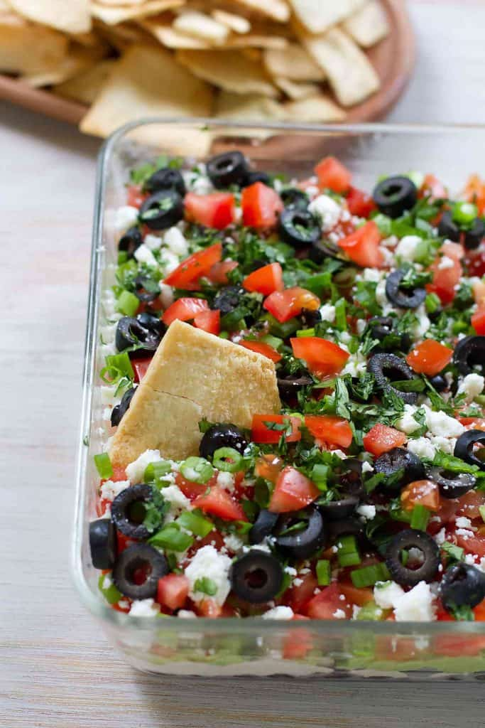 Serve up this Healthy 7 Layer Dip for your next party. Perfect for the Super Bowl! 69 calories and 2 Weight Watchers SmartPoints