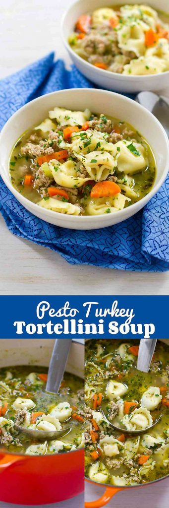30 minute meal! This healthy Pesto Turkey Tortellini Soup recipe makes cooking easy! 230 calories and 4 Weight Watchers Freestyle SP
