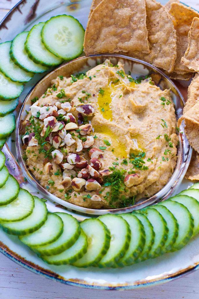 Roasted Cauliflower Dip…This healthy vegan dip is packed with toasty, warm flavors. Use any leftovers as a sandwich spread. 63 calories and 2 Weight Watchers SmartPoints