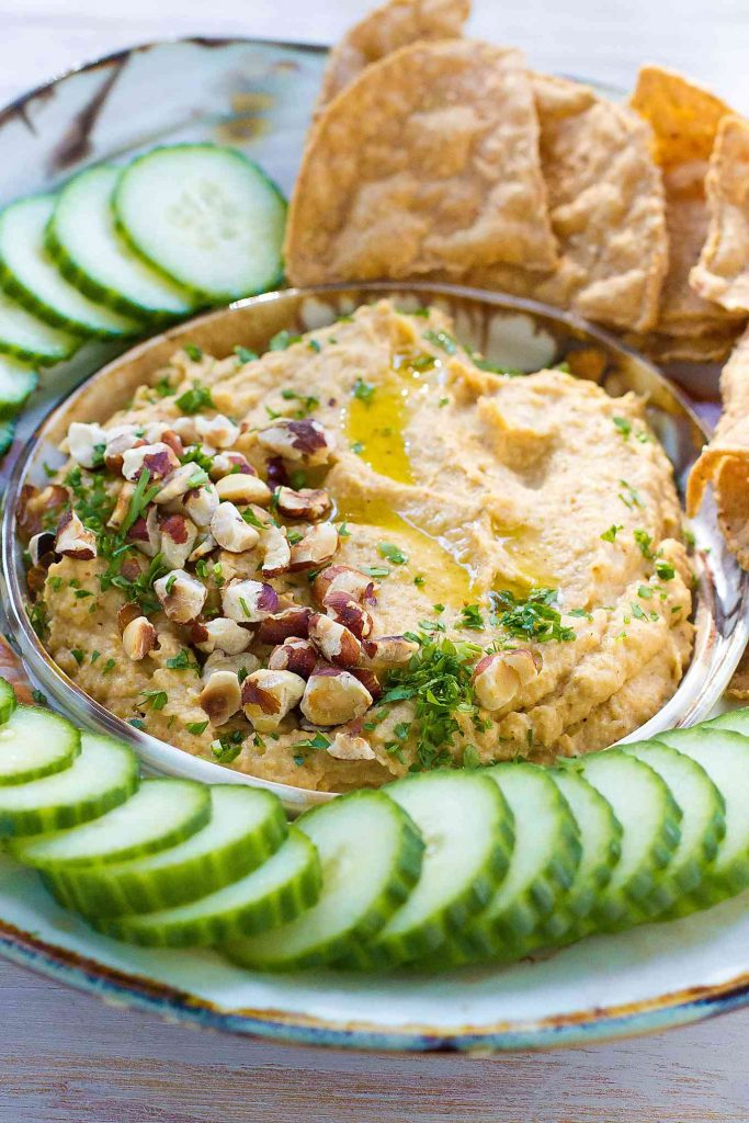 Roasted Cauliflower Dip…This healthy vegan dip is packed with toasty, warm flavors. Use any leftovers as a sandwich spread. 63 calories and 2 Weight Watchers Freestyle SP