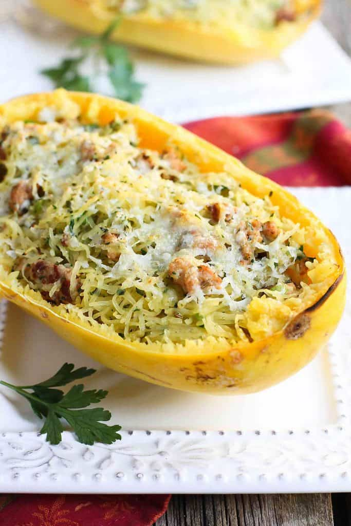Sausage Stuffing Stuffed Spaghetti Squash…All the flavors of our favorite Thanksgiving stuffing mixed into healthy spaghetti squash! 3543 calories and 9 Weight Watchers Freestyle SP