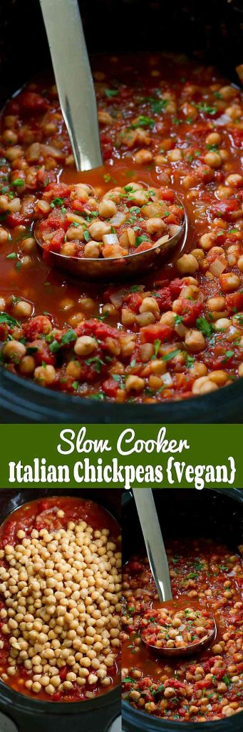 Pull out the crockpot for these vegan Slow Cooker Italian Chickpeas. Serve over rice, pasta and quinoa. 188 calories and 0 Weight Watchers Freestyle SP #vegan #vegetarian