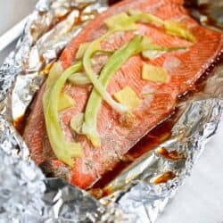 This easy grilled salmon in foil recipe, with the flavors of soy sauce and ginger, requires virtually no clean-up. It's perfect for busy weeknights or entertaining! 231 calories and 0 Weight Watchers Freestyle SP #salmon #grilled #healthy #weightwatchers