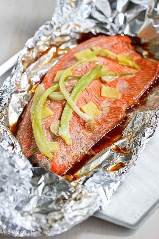 Easy Grilled Salmon in Foil with Ginger and Soy Sauce...Awesome flavor and virtually no clean-up! 231 calories and 5 Weight Watchers SmartPoints