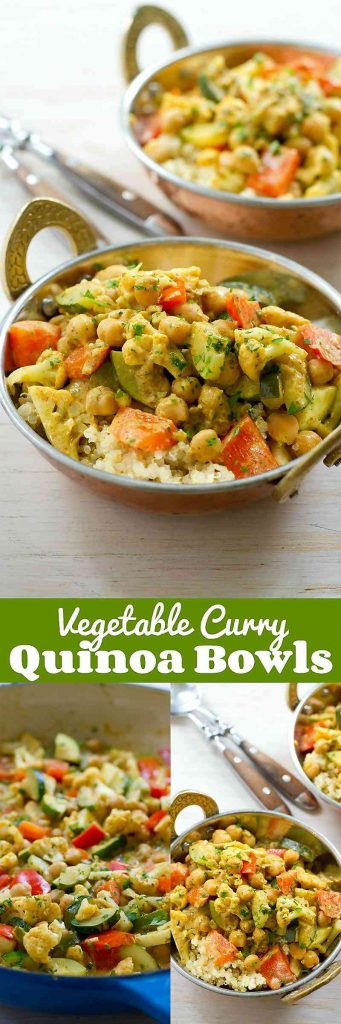 Vegetable Curry Quinoa Bowls…This delicious vegan dish is a fantastic way to get a healthy dose of vegetables in your day! 240 calories and 5 Weight Watchers Freestyle SP