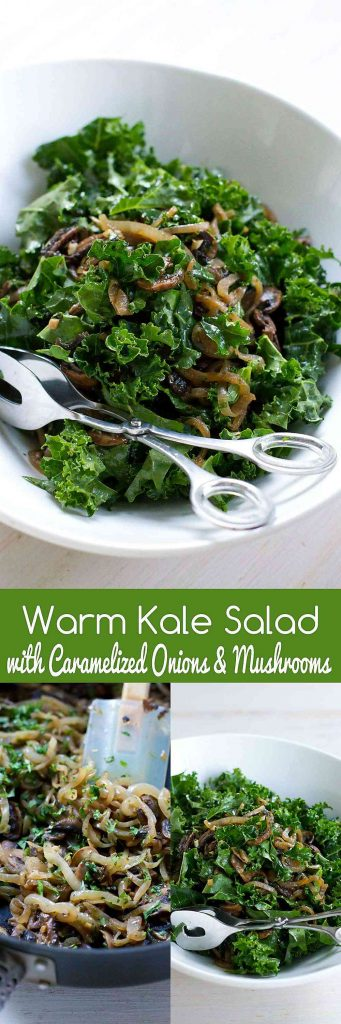 Warm Kale Salad with Caramelized Onions and Mushrooms…Serve this up as a healthy side dish or double up for an entrée serving. 102 calories and 2 Weight Watchers Freestyle SP