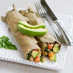 Buckwheat Avocado Crepes with Chicken & Spinach