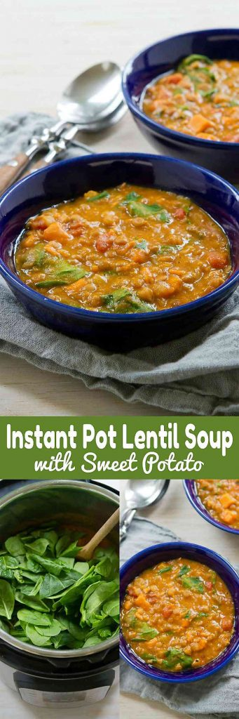 This Instant Pot Lentil Soup with Sweet Potatoes is not only delicious and satisfying, but also happens to be vegan! 188 calories and 4 Weight Watchers Freestyle SP