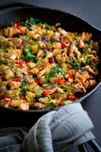 Serve up this flavorful and healthy Skillet Salmon Potato Hash with a green salad for brunch or a light dinner. 174 calories and 3 Weight Watchers Freestyle SP