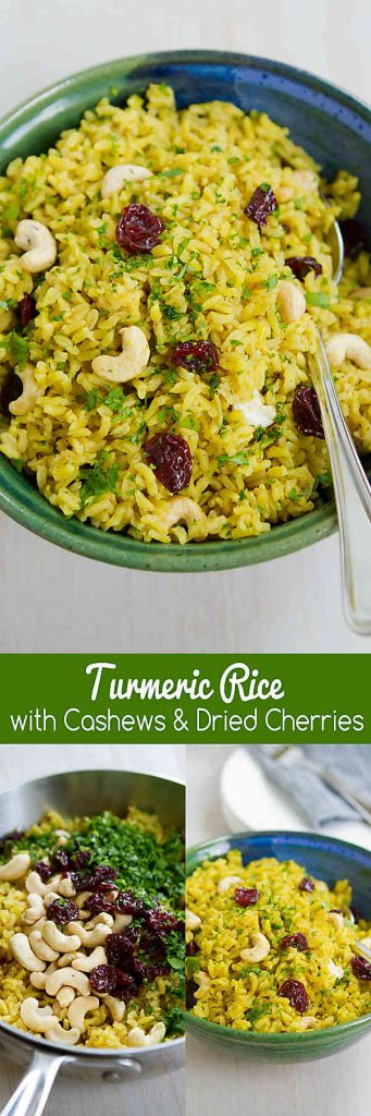 Kick up your side dish game with this Turmeric Rice recipe, complete with crunchy cashews and sweet-tart cherries. Vegan and gluten free. 108 calories and 3 Weight Watchers Freestyle SP