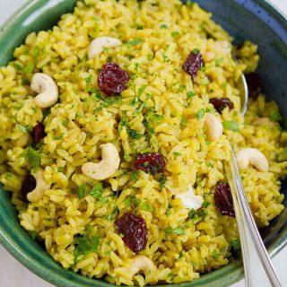 Turmeric Rice with Cashews & Dried Cherries