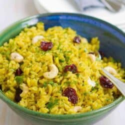 Turmeric Rice with Cashews & Dried Cherries