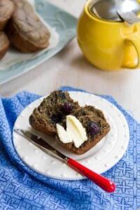 These Blueberry Buckwheat Muffins are tender and tasty, with little pops of flavor from the blueberries. Natural sugar and whole grain flours. 103 calories and 3 Weight Watchers SmartPoints