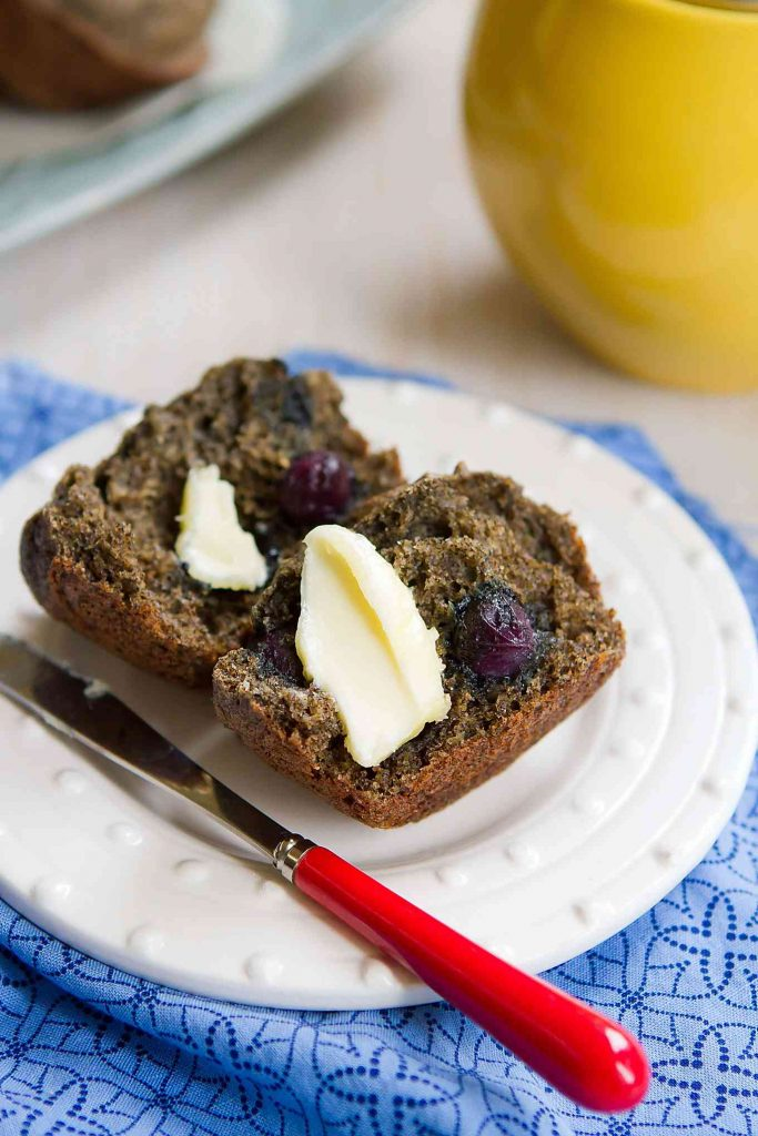 These Blueberry Buckwheat Muffins are tender and tasty, with little pops of flavor from the blueberries. Natural sugar and whole grain flours. 103 calories and 3 Weight Watchers Freestyle SP