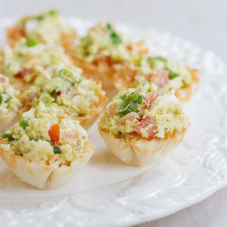 Curry Avocado Egg Salad Phyllo Bites