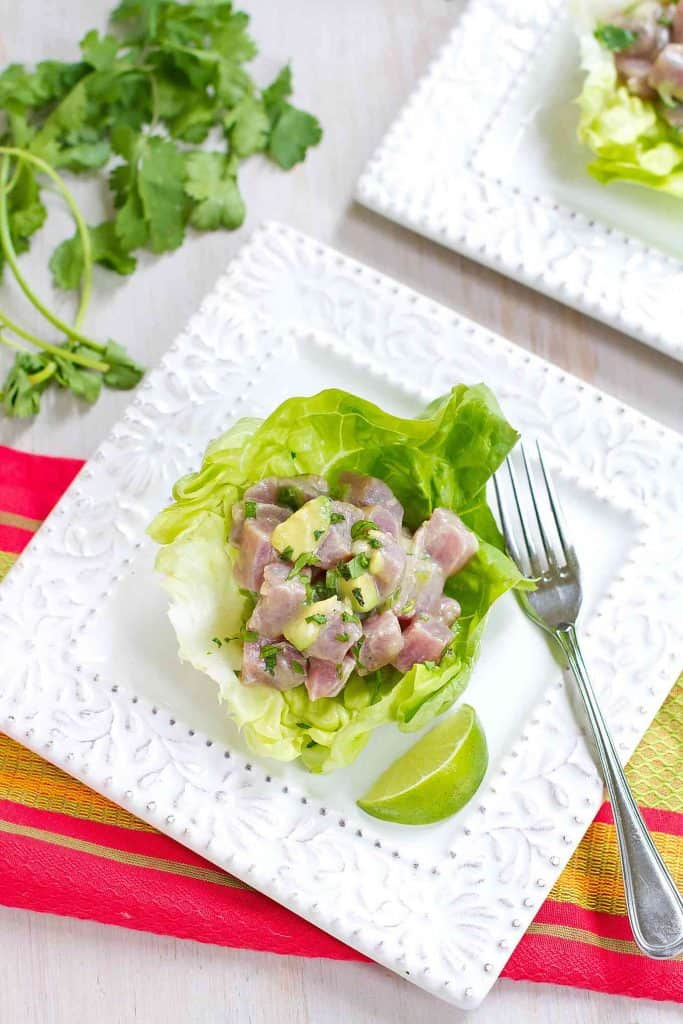 Ahi tuna ceviche gets a kick from tequila in this margarita-inspired appetizer recipe. Great for Cinco de Mayo or a summertime dinner party! 214 calories and 5 Weight Watchers SmartPoints