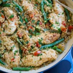 One Pot Chili Lime Chicken with Quinoa…Healthy, delicious weeknight recipe with almost no clean-up. Bliss! 375 calories and 8 Weight Watchers SmartPoints