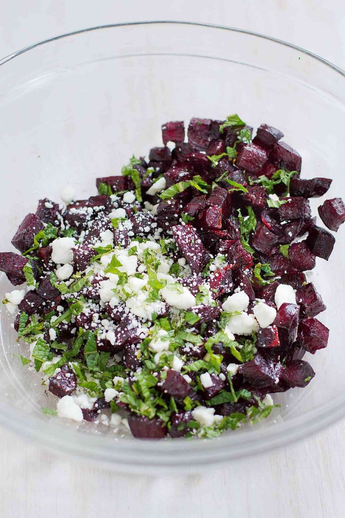 This Roasted Beet Salad with Feta has a fantastic mix of naturally sweet and savory flavors. Super simple to make! For a big helping…150 calories and 3 Weight Watchers SmartPoints