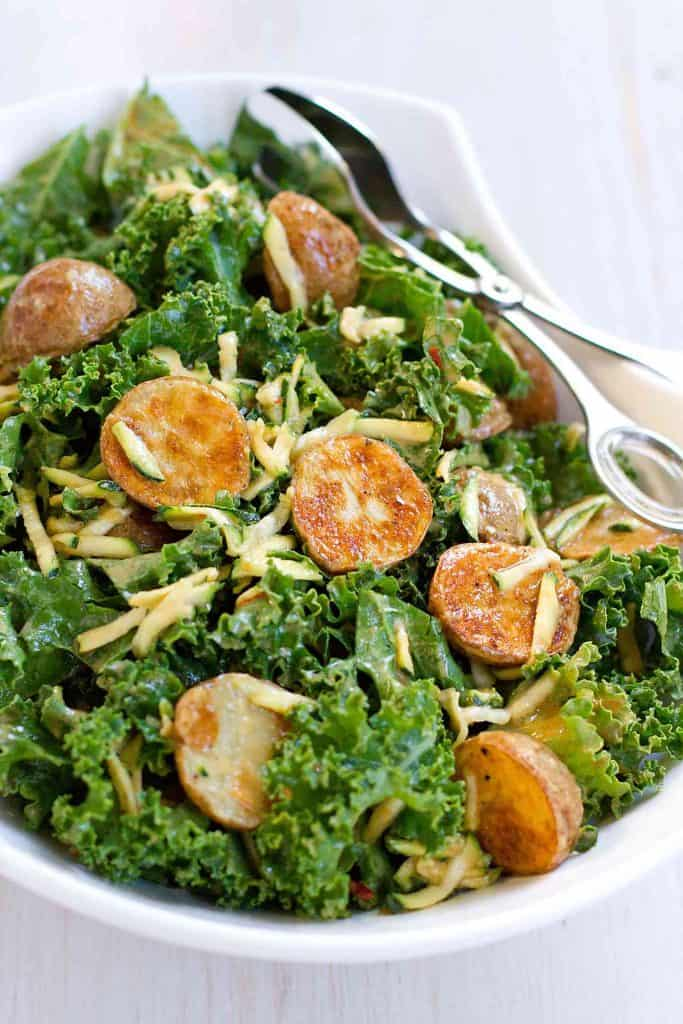 Thai Roasted Potato Kale Salad…Fantastic flavor in this healthy salad, which is tossed with a light peanut dressing. 136 calories and 3 Weight Watchers SmartPoints