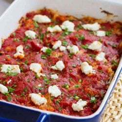 Baked Cauliflower Casserole with Goat Cheese