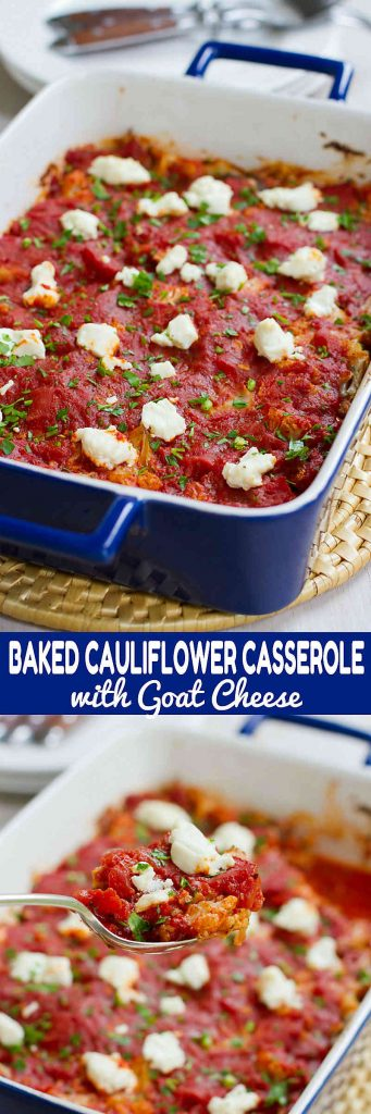 Cauliflower has never tasted so good! This Baked Cauliflower Casserole gets a hit of tangy flavor from melted goat cheese. 128 calories and 2 Weight Watchers SmartPoints
