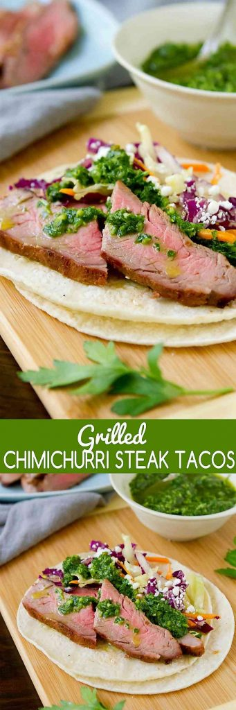 Taco Tuesday gets a whole new look with these Grilled Chimichurri Steak Tacos. The flavor of the sauce is to die for! 399 calories and 10 Weight Watchers Freestyle SP