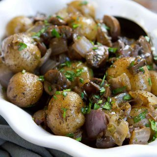 Grilled Potatoes with Rosemary Mushrooms & Onions