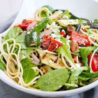Grilled Vegetable Salad with Bacon & Spaghetti