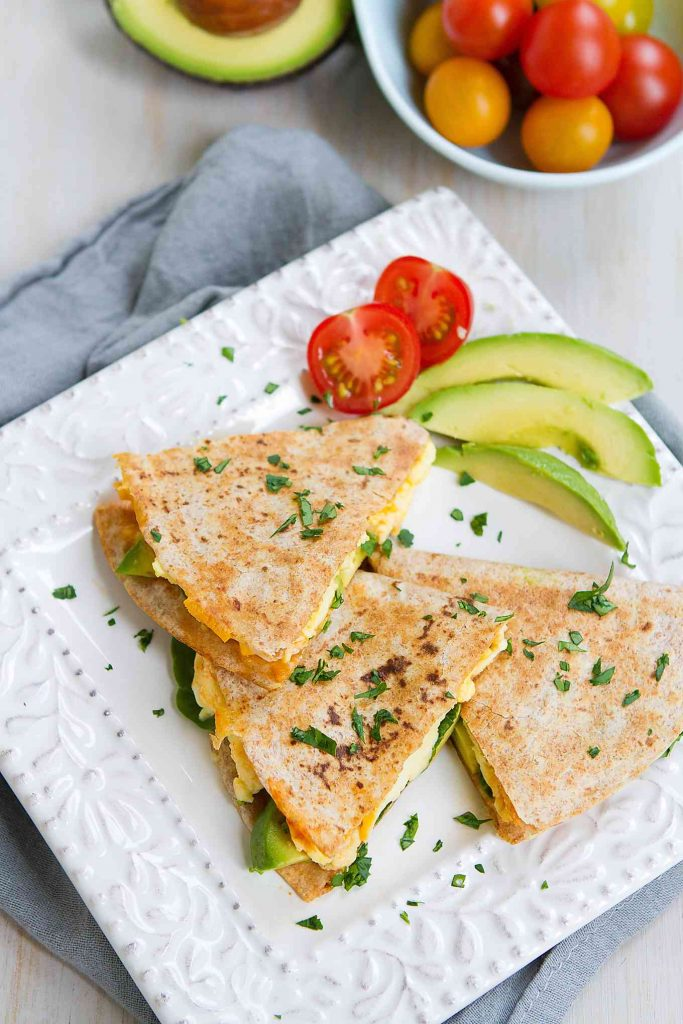 Kick off your day with a Spinach Avocado Breakfast Quesadilla. High on protein and filled with flavor! 238 calories and 4 Weight Watchers Freestyle SP