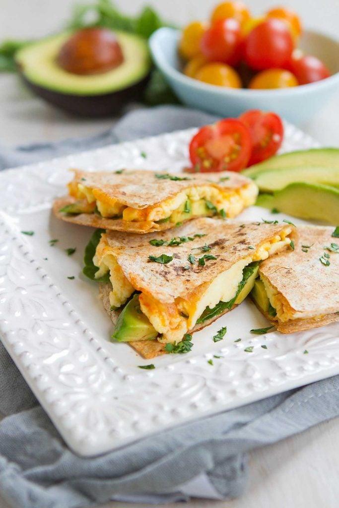 Spinach Avocado Breakfast Quesadilla Healthy Breakfast Recipe