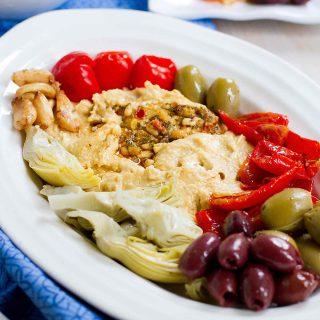 Vegetarian Antipasto Hummus Platter