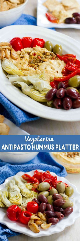Sometimes the simplest ideas are the best! This Vegetarian Antipasto Hummus Platter is perfect for snacking pre-dinner.