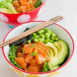 If you are a poke lover, this Avocado Salmon Poke Salad Bowl is right up your alley! Light and beyond flavorful.. 327 calories and 8 Weight Watchers SmartPoints