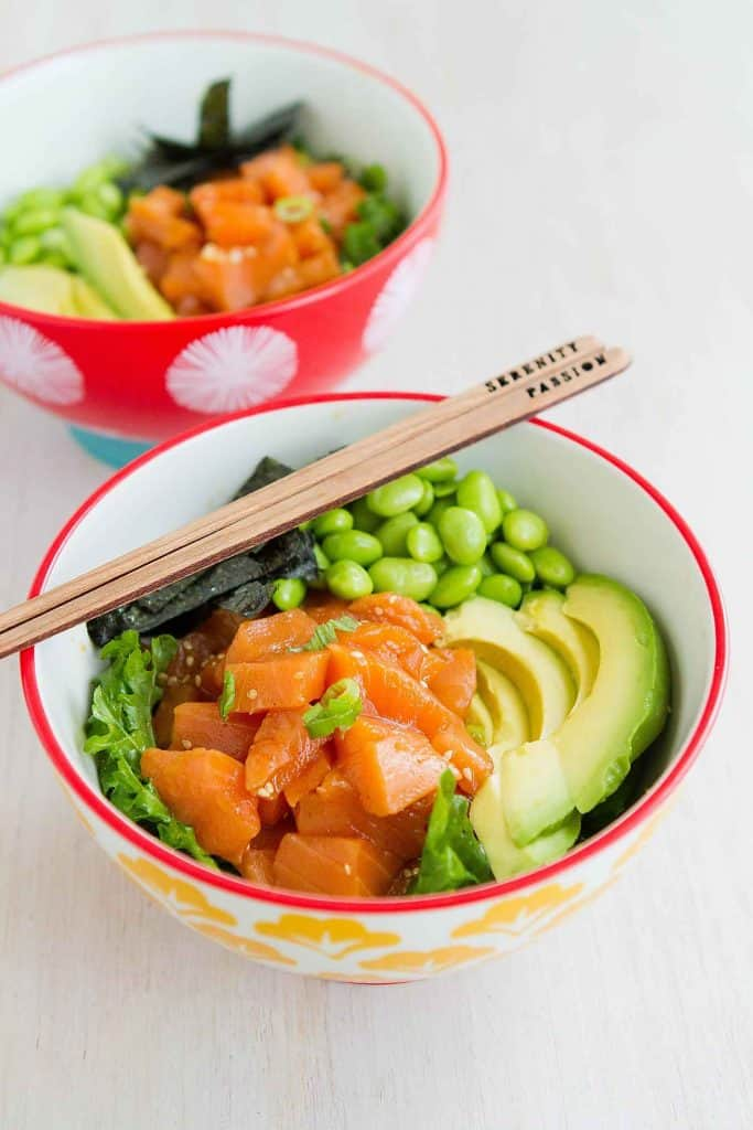 If you are a poke lover, this Avocado Salmon Poke Salad Bowl is right up your alley! Light and beyond flavorful.. 327 calories and 5 Weight Watchers Freestyle SP