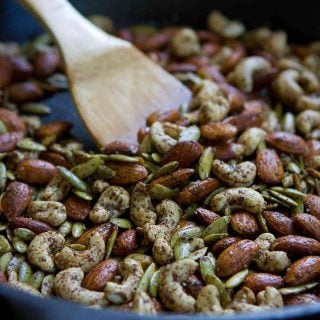 Grab a handful of these easy skillet Chai Spiced Nuts when you get the afternoon munchies or serve them as an appetizer with cocktails. 158 calories and 5 Weight Watchers Freestyle SP
