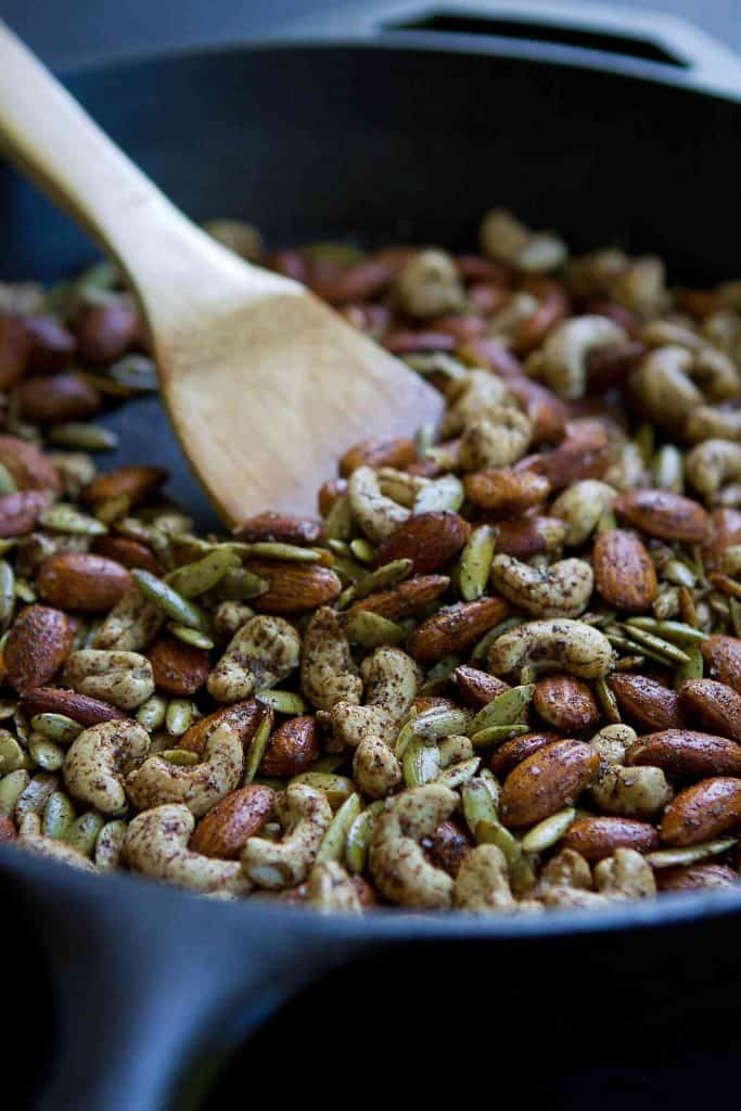 Grab a handful of these easy skillet Chai Spiced Nuts when you get the afternoon munchies or serve them as an appetizer with cocktails. 158 calories and 5 Weight Watchers SmartPoints