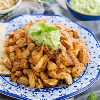 This Grilled Chicken Shawarma with Avocado Tzatziki is fantastic on its own or when served up with pita bread and hummus! 300 calories and 3 Weight Watchers Freestyle SP