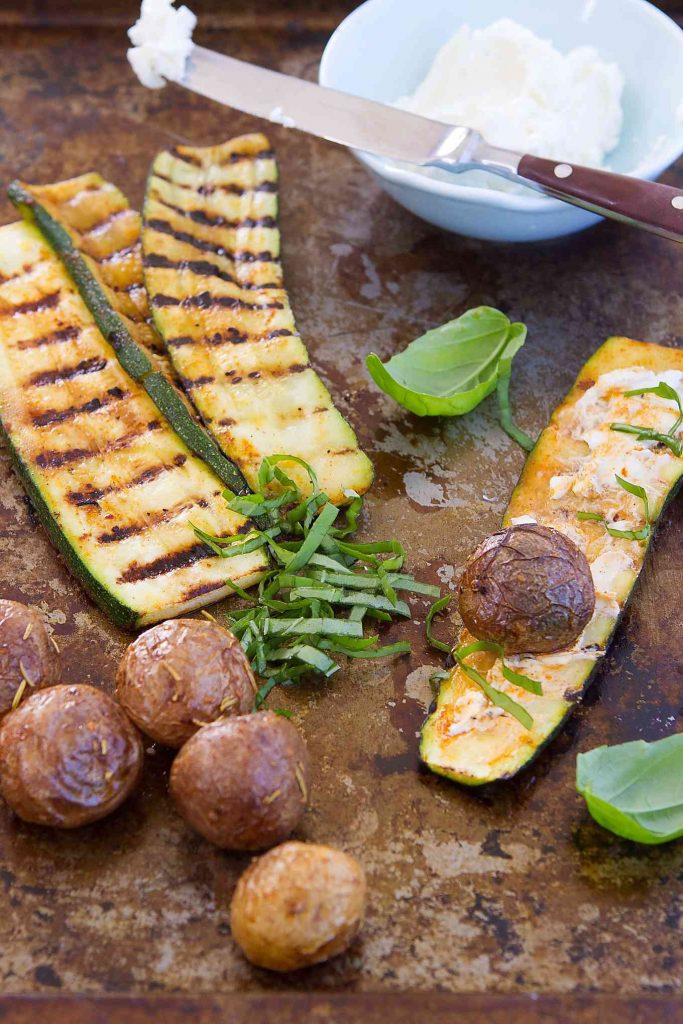 These fantastic vegetarian Grilled Zucchini Potato Rolls with Goat Cheese are great as an appetizer or even a light lunch. 109 calories and 3 Weight Watchers SmartPoints