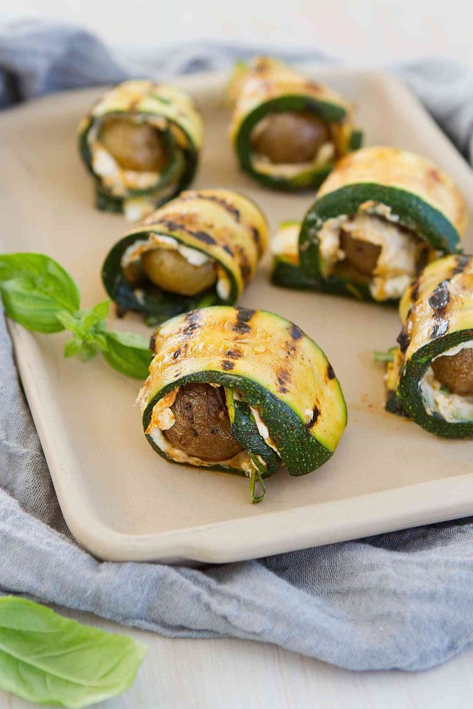 These fantastic vegetarian Grilled Zucchini Potato Rolls with Goat Cheese are great as an appetizer or even a light lunch. 109 calories and 3 Weight Watchers Freestyle SP