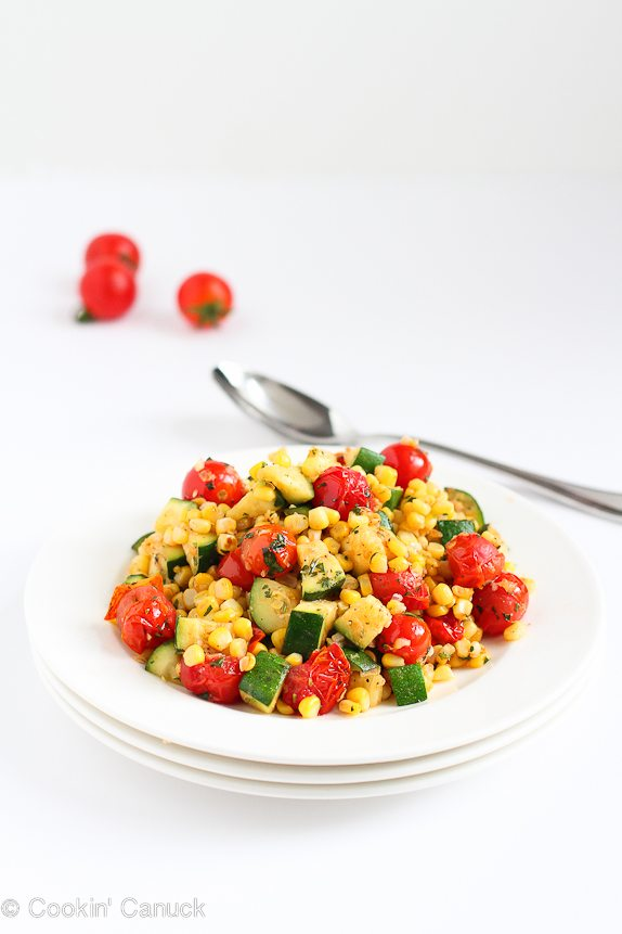 15 Healthy Summer Corn Recipes - Sauteed Zucchini, Corn and Blistered Tomatoes